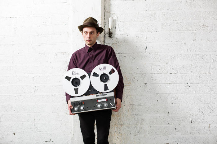 Irish musician, producer and songwriter David Lyttle with his reel to reel tspe recorder
